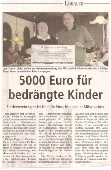 Artikel aus der Böhme-Zeitung vom 12. März 2009